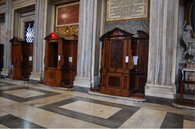 """Light's on"" at the elegant baroque confessionals at Santa Maria Maggiore, in Rome (image from the New Liturgical Movement)."