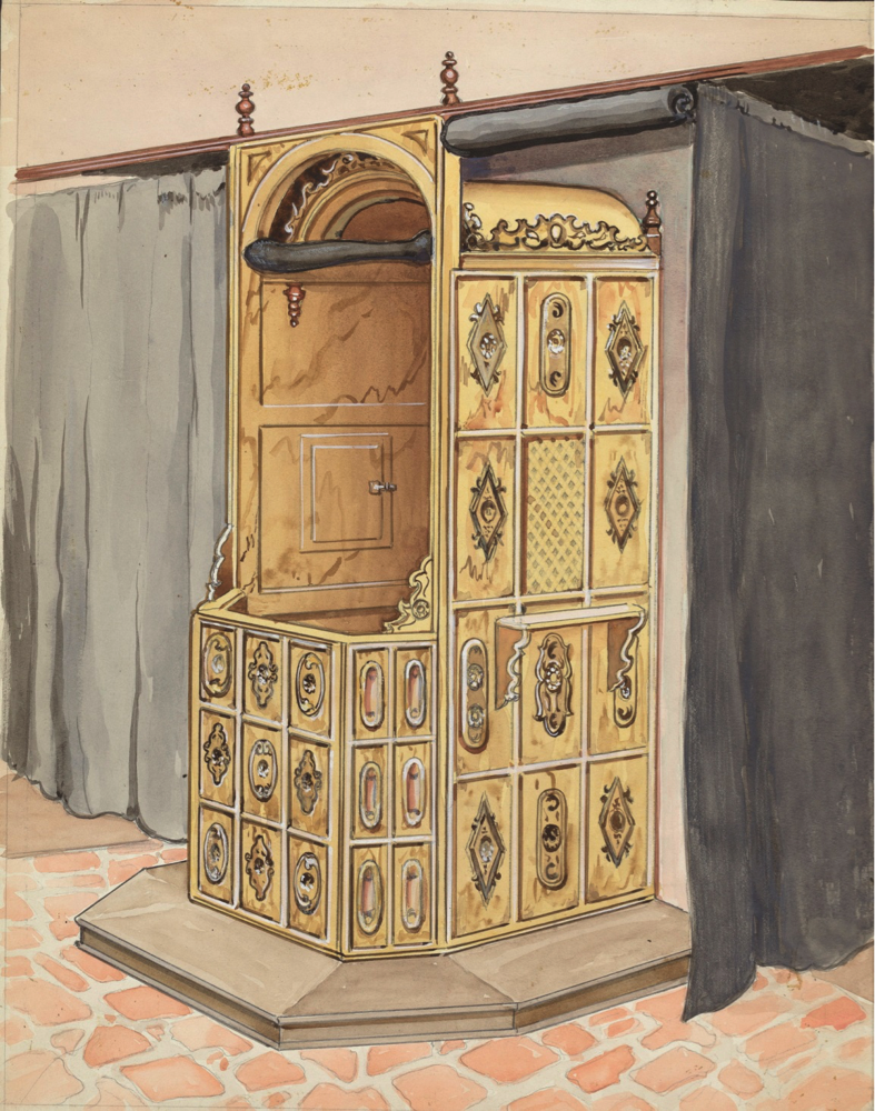 A 1935 watercolor of a simple—though not simplistic—confessional box, by the American artist Harry Wadell (courtesy of the National Gallery of Art, Washington, D.C.).