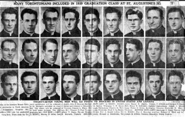 A newspaper clipping showing Msgr. Foy's 1939 graduating seminary class.