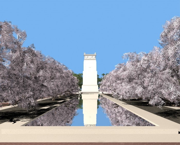 Competition entry for the September 11 Pentagon Memorial. View from the entry to the south.