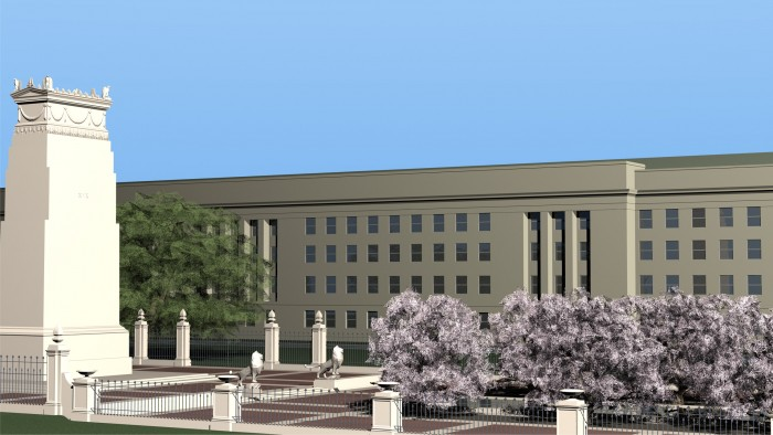 Competition entry for the September 11 Pentagon Memorial. View from the west.